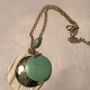 Chico's turquoise and bone necklace